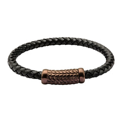 Black Leather Bracelet with Cappuccino IP Patterned Magnetic Center Buckle
