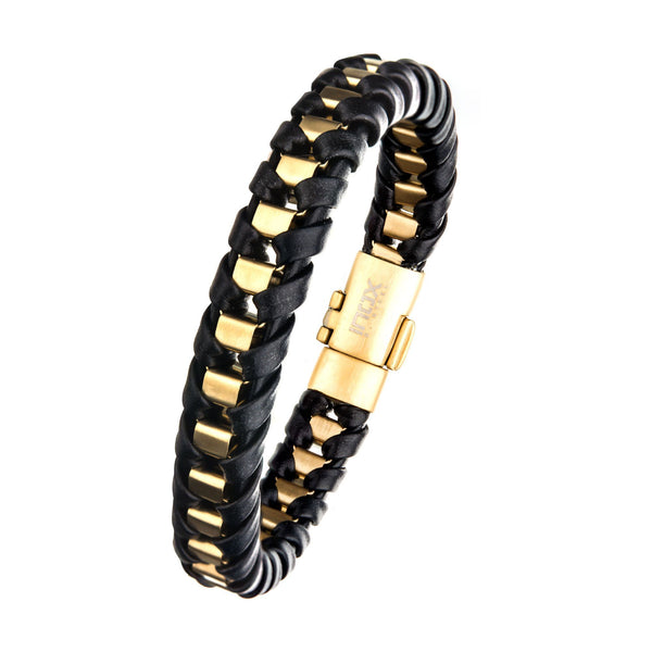 Black Leather with Gold IP Bracelet
