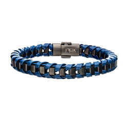 Navy Leather with Gun Metal IP Bracelet