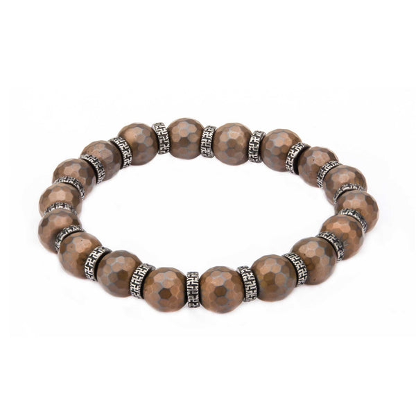 Hematite Hexagon Pattern Stone Bracelet with Antiqued Spacer and Stretch Wire