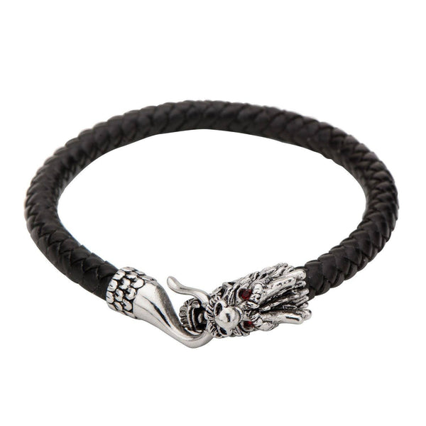Black Leather Bracelet with Dragon Head Bite Tail Clasp