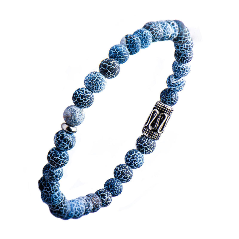 Stainless Steel, Crack Agate Beaded Stretch Bracelet