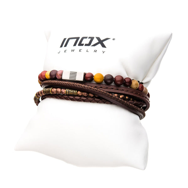 Multi Leather, Brown Steel Bead and Mookite Stackable Bracelets
