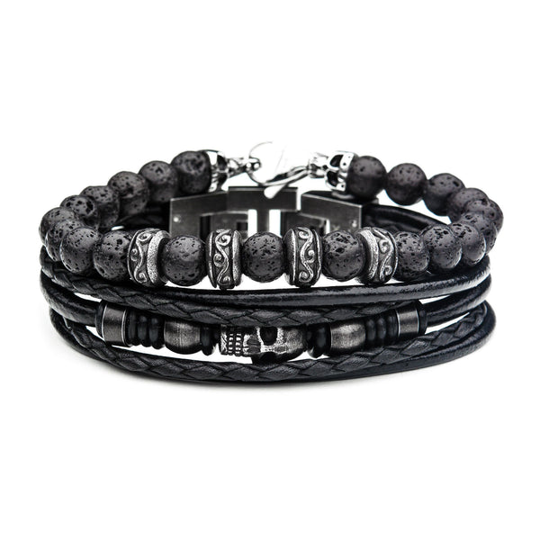 Black Lava and Multi Skull Black Leather Stackable Bracelets