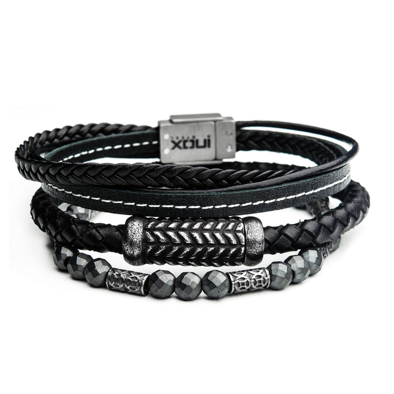 Grey Hematite and Leather Station Stackable Bracelets
