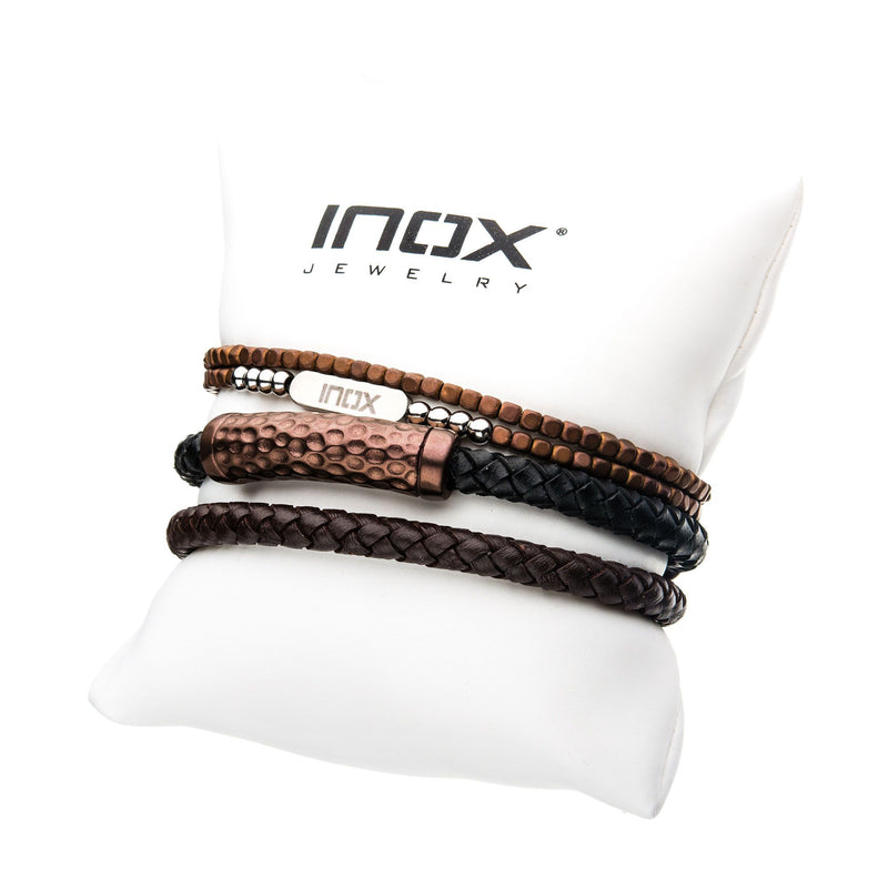 Cappuccino Leather and Brown Beads Stackable Bracelets