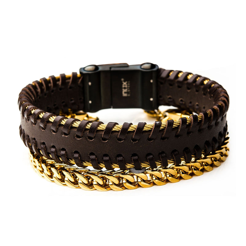 Gold Cable, Brown Leather and Gold IP Franco Stackable Bracelets