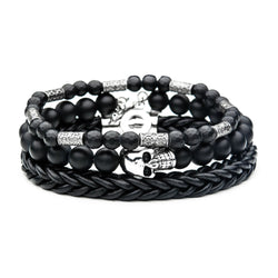 Black Bead Leather Braid Stackable Bracelets