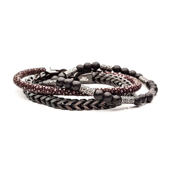 Black Bead, Black IP Steel and Brown Leather Stackable Bracelets