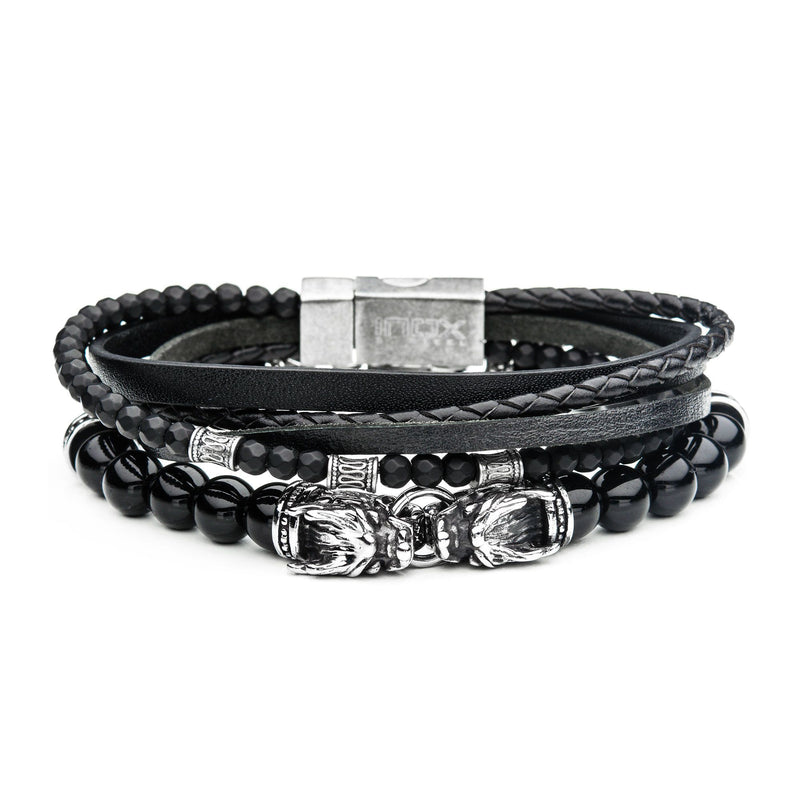 Multi Leather Dragon Stackable Bracelets
