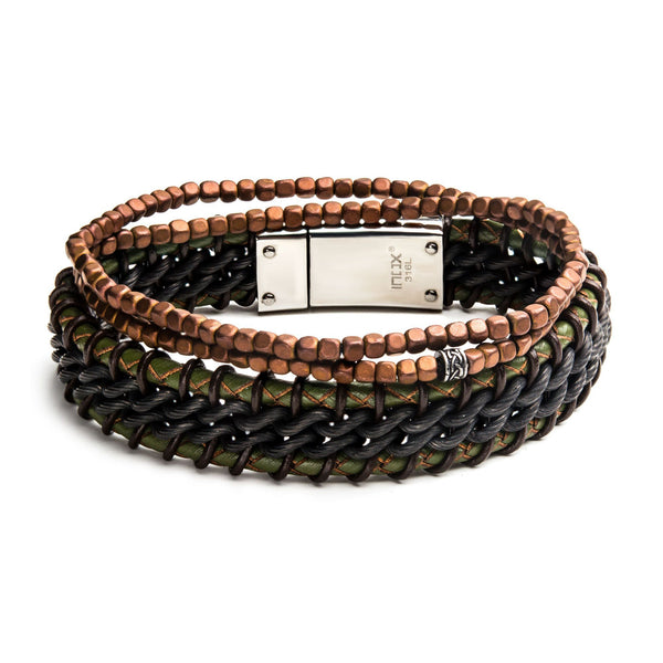 Dark Green Leather and Brown Bead Stackable Bracelets