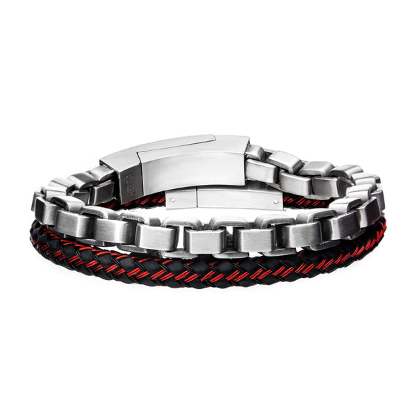 Brushed Steel and Red Cable Stackable Bracelets