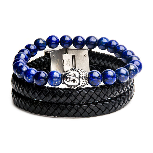 Lapiz Bead and Double Black Leather Stackable Bracelets