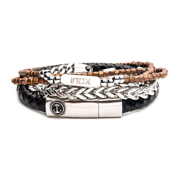 Black Leather, Brown Hematite and Franco Steel Stackable Bracelets