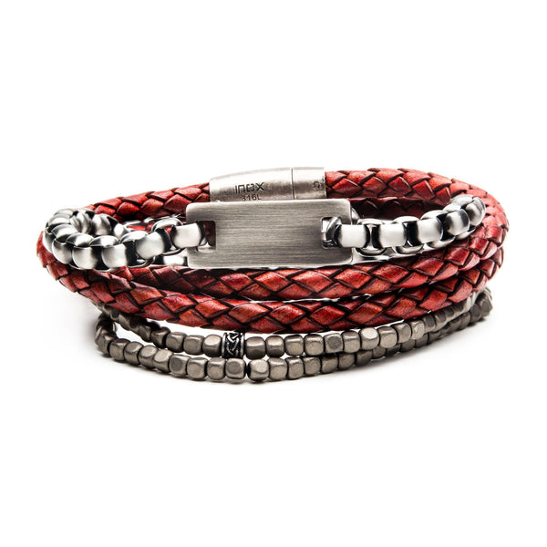 Gunmetal, Red Leather and Grey Hematite Stackable Bracelets