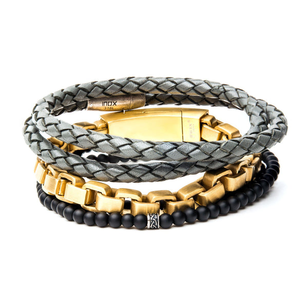 Gold, Black Hematite and Grey Leather Stackable Bracelets