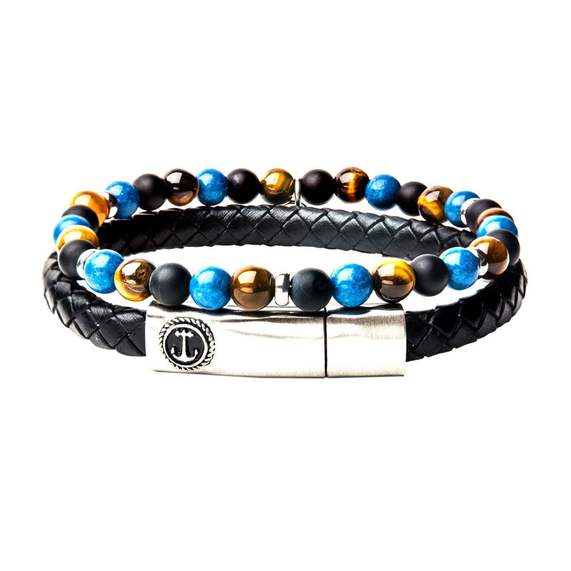 Onyx/Tiger Eye and Black Leather Stackable Bracelets