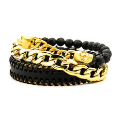 Stainless Steel Gold IP, Skull Lava and Black Leather Stackable Bracelets