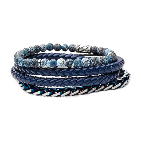 Blue Bead, Blue Multi Leather and Chain Stackable Bracelets
