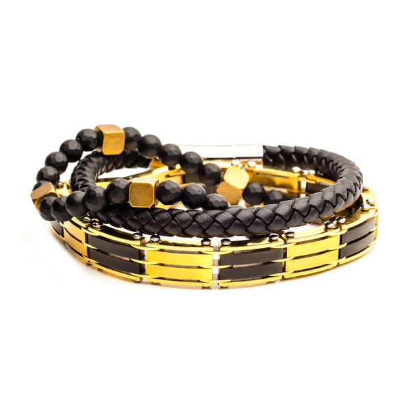 Gold IP, Black Leather and Bead Stackable Bracelets