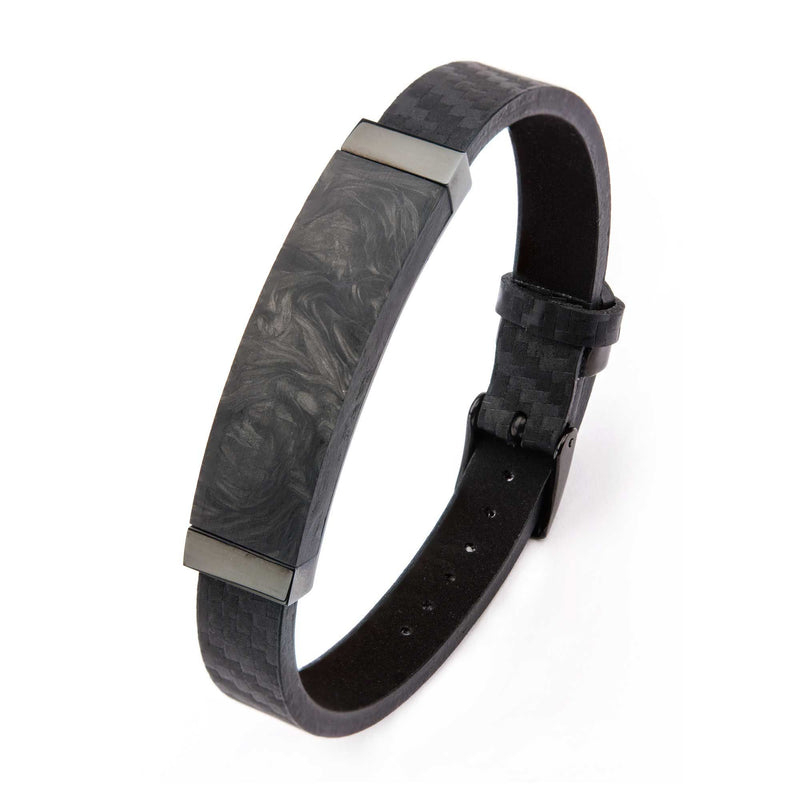 Black Leather and Solid Carbon Graphite Bracelet with Belt Buckle Clasp