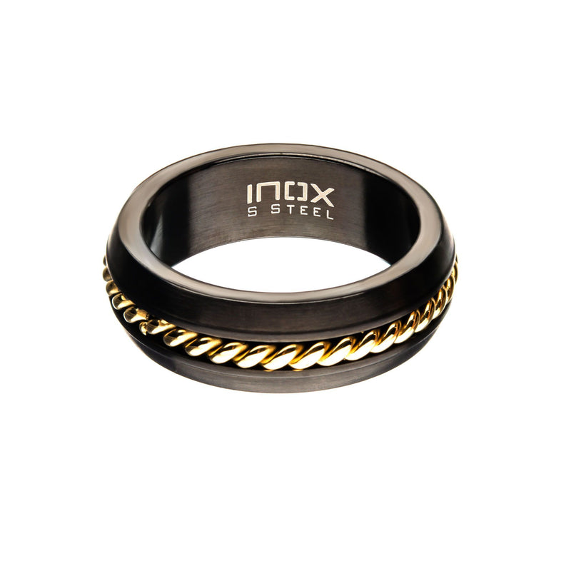 Steel Polished Gold IP Inlayed Ring