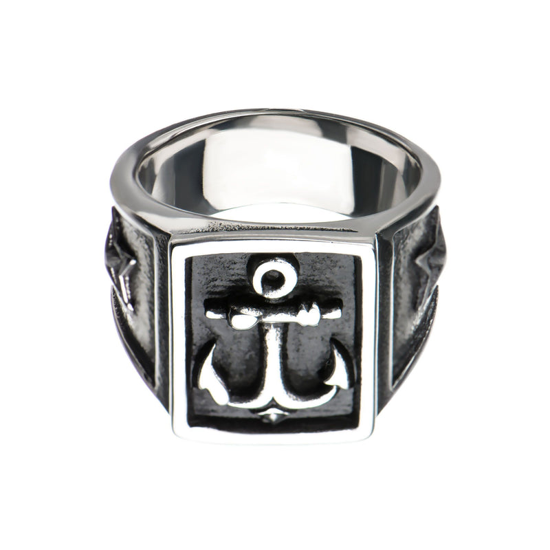 Steel Oxidized Anchor Signet Ring