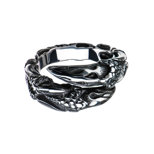 Steel Oxidized Claw Ring