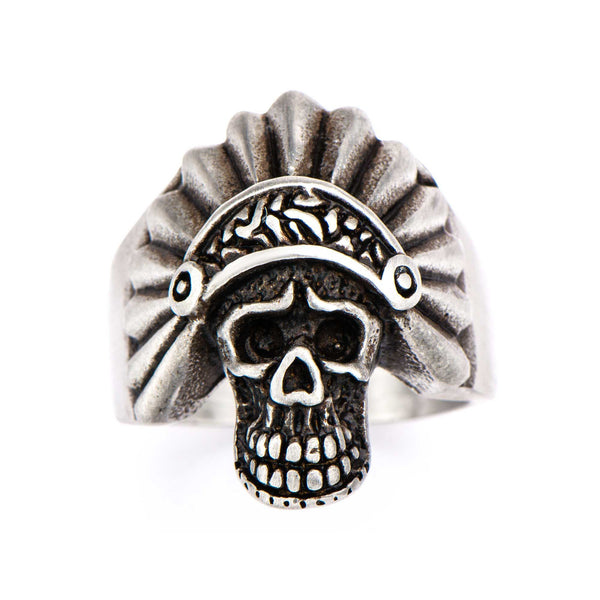 Stainless Steel Brushed Gunmetal Finish Apache Skull Ring