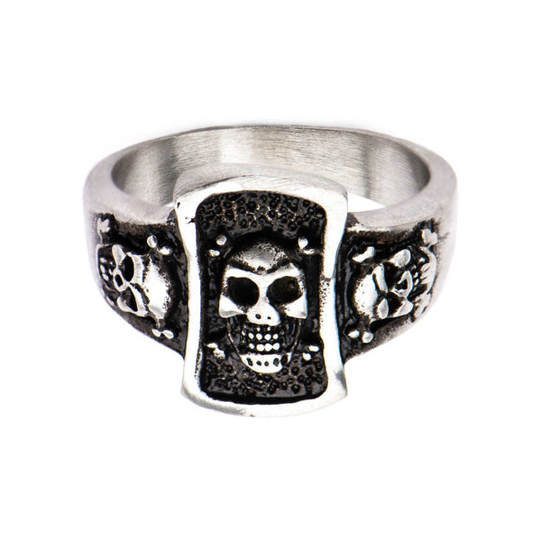Stainless Steel Brushed Gunmetal Finish Skull Ring