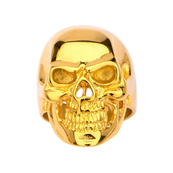 Gold IP High Polished Front Face Skull Ring