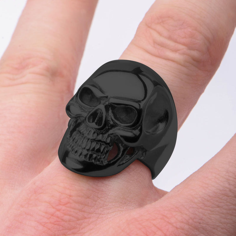 Black IP High Polished Front Face Skull Ring