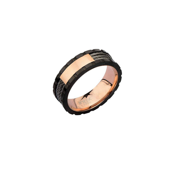 Rose Gold IP Inner Ring with Black Line and Inlayed Cables - Bijouterie en ligne - 1