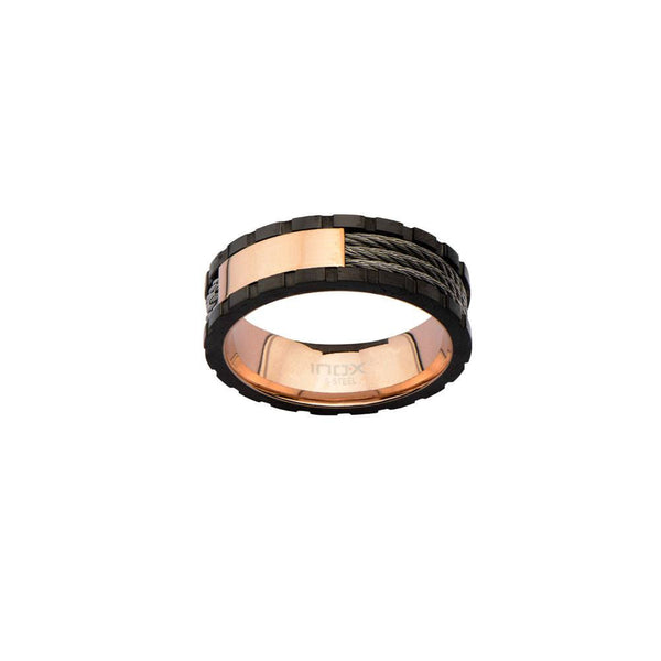 Rose Gold IP Inner Ring with Black Line and Inlayed Cables - Bijouterie en ligne - 2