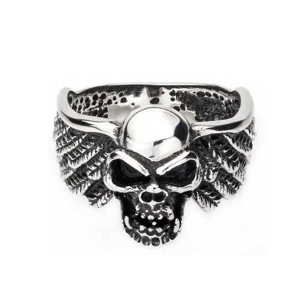 Stainless Steel Skull with Wings Ring