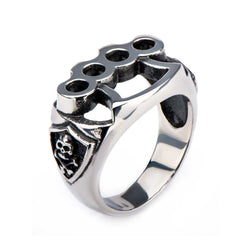 Stainless Steel Skull and Knuckle Ring