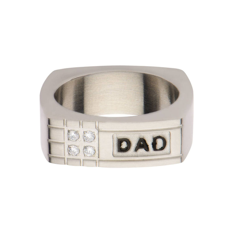 Geometric Design with CZ and Engraved DAD Ring - Bijouterie en ligne - 1