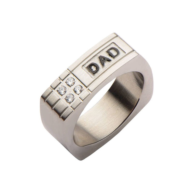 Geometric Design with CZ and Engraved DAD Ring - Bijouterie en ligne - 2