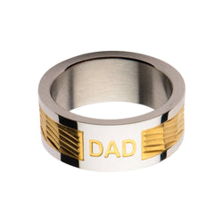 Gold IP Band with DAD Engraved Ring - Bijouterie en ligne - 1