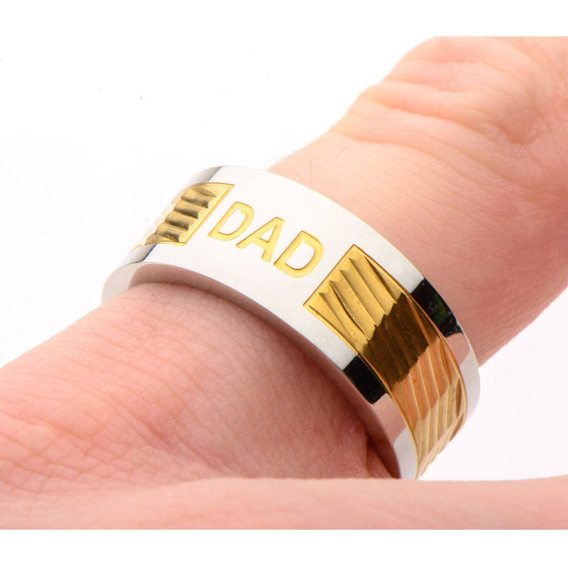 Gold IP Band with DAD Engraved Ring - Bijouterie en ligne - 4