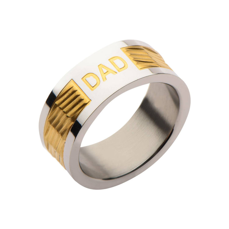 Gold IP Band with DAD Engraved Ring - Bijouterie en ligne - 2