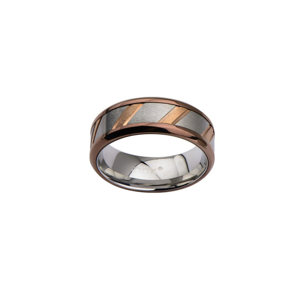 IP Rose Gold & Steel Ring with Diagonal Lines - Bijouterie en ligne - 1