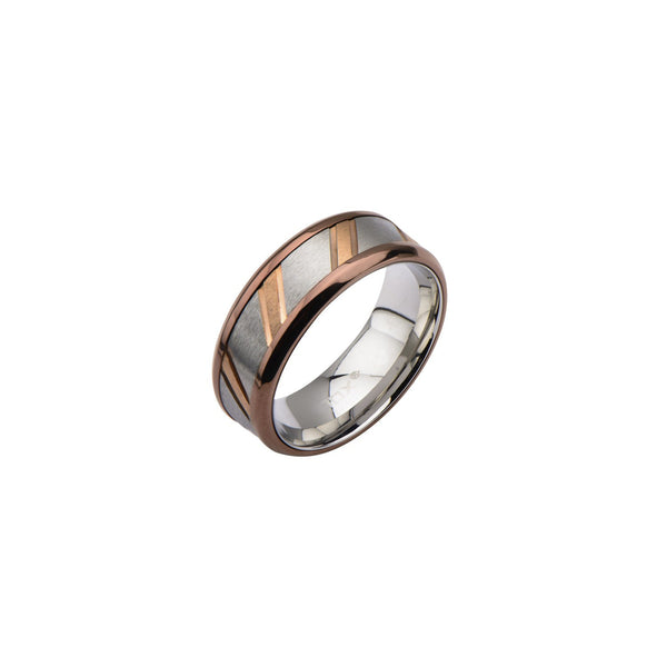 IP Rose Gold & Steel Ring with Diagonal Lines - Bijouterie en ligne - 2