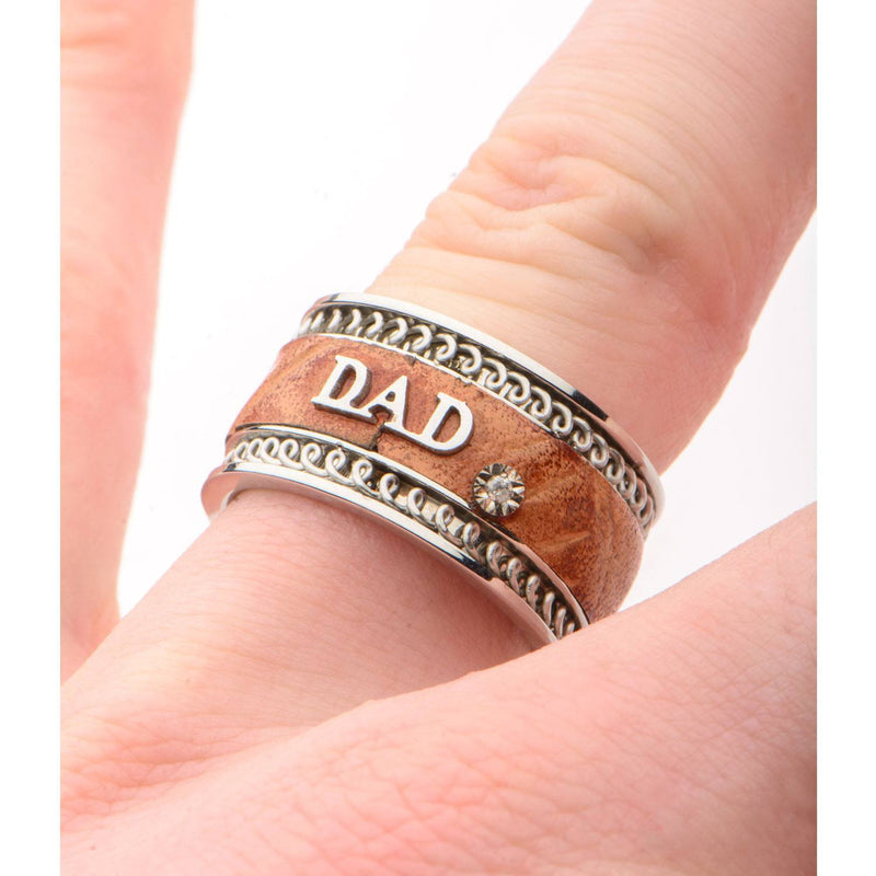 Brown Leather DAD Ring. - Bijouterie en ligne - 4