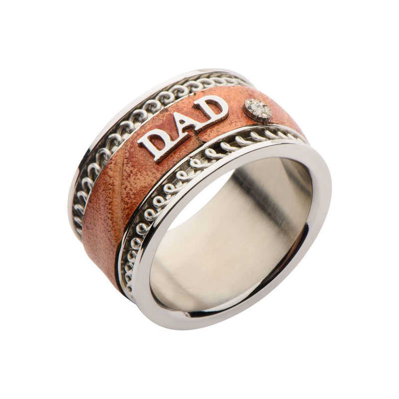 Brown Leather DAD Ring. - Bijouterie en ligne - 2