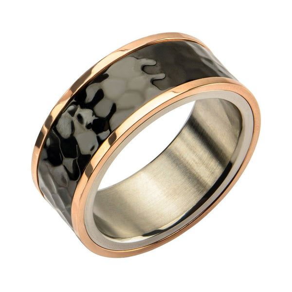Tri-Tone Hammered Finish Ring