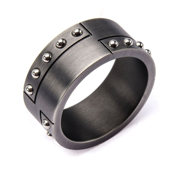 Stainless Steel Gun Metal Finish with Steel Beaded Ring