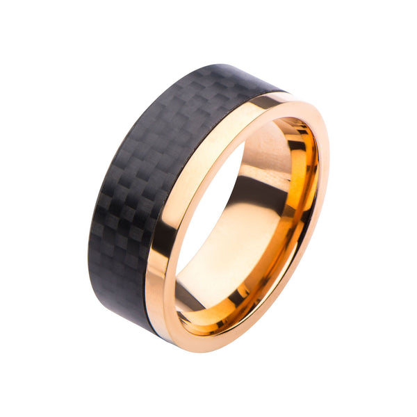 Rose Gold IP & Solid Carbon Patterned Design Ring