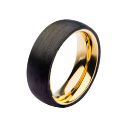 Solid Carbon & Gold IP Ring