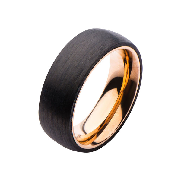 Solid Carbon & Rose Gold IP Ring